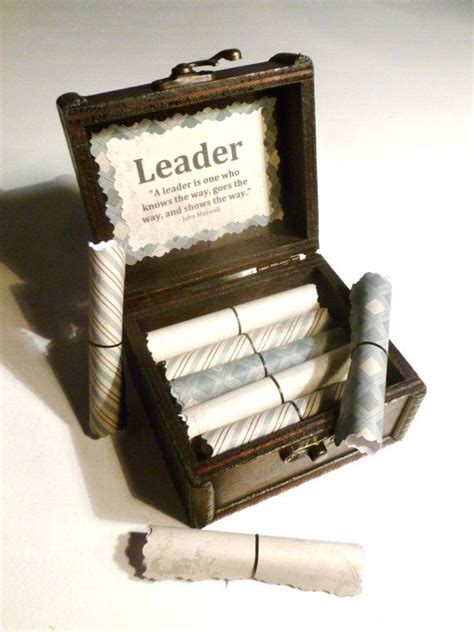 inspirational christmas gift scrolls 20 inspirational quotes about leadership in a wooden emblem chest a meaningful