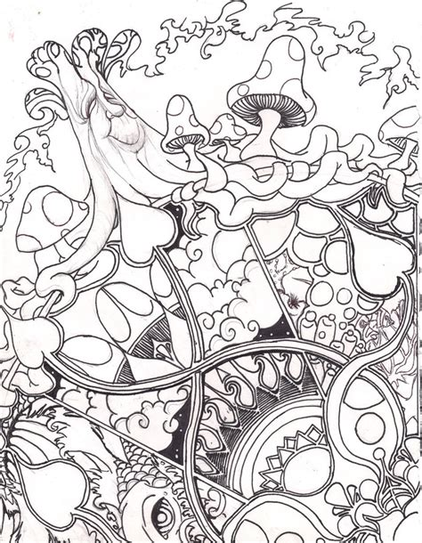 abstract mushrooms coloring pages home grown line art by froggychan on deviantart