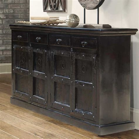 Black Sideboard kansas city solid wood 4 drawer black sideboard