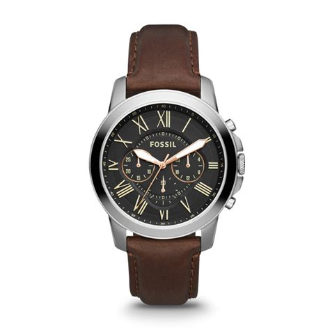 fossil grant chronograph leather brown fs4813