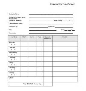 contractor timesheet template sle blank timesheet timesheet template word monthly