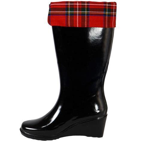 wellington dress boots for gloss black tartan wellies wellington boots size 3
