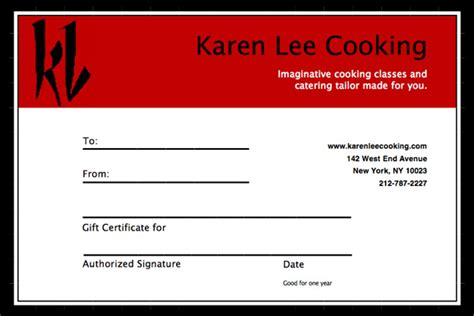 cooking gift certificate template cooking gift certificate template