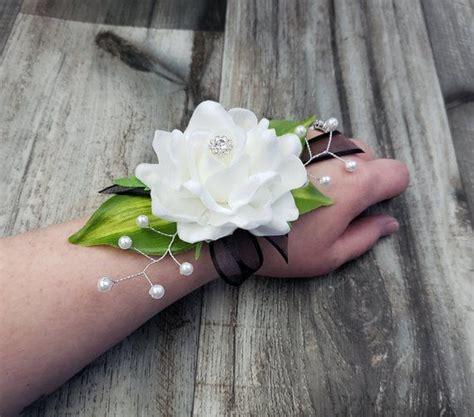boxed real touch white gardenia rhinestone pearls leaf