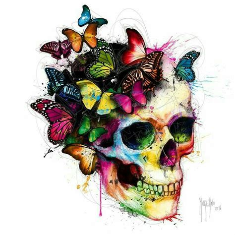 watercolor sugar skull tattoo butterfly skull pinteres