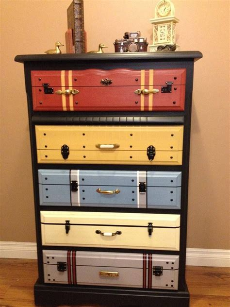suitcase dresser another faux suitcase painted chest of drawers love it painted furniture pinterest guest