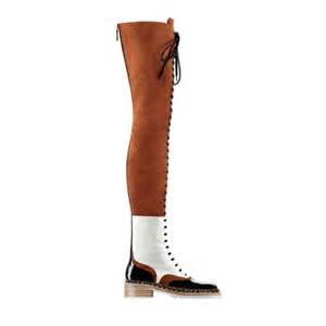 Fall women s lace up thigh high boots brown black white low heel boots