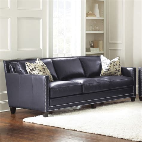 Steve Silver Hendrix Sofa W 2 Accent Pillows In Navy Blue Silver Leather Sofa
