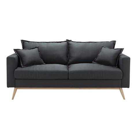 slate grey couch 3 seater fabric sofa in slate grey duke maisons du monde