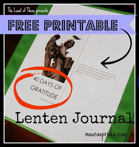 printable lent journal free printable 40 days of gratitude a lenten journal