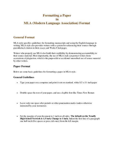 mla format paper template heading research paper mla