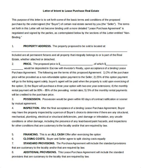 Letter Of Intent To Purchase Real Estate In California Real Estate Letter Of Intent 10 Free Word Pdf Format Free Premium Templates