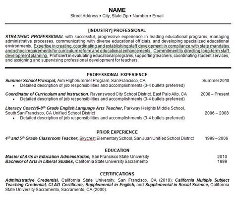 Prior Resume Template by Exelent Sle One Page Resume Gallery Exle Resume