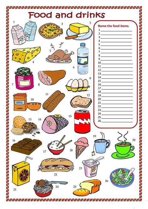 guess my word 35 food items worksheet free food and drinks worksheet worksheet free esl printable