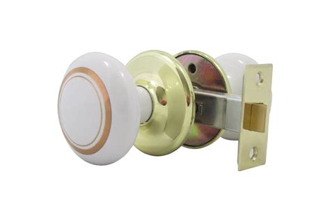 Porcelain Door Knob Sets by White Porcelain Door Knob Set With Gold Rings By