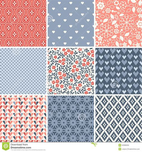 seamless pattern collection elegant hearts seamless patterns vector illustration
