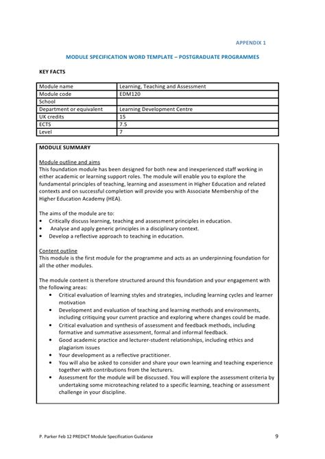 Revising Module Specifications A Guidance Booklet Module Template