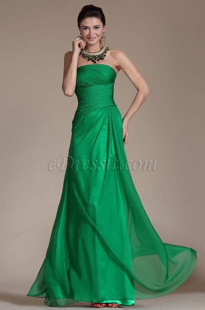 Pleated Dress Tosca green strapless pleated evening gown c00142904