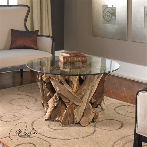 Uttermost Driftwood 36 Round Glass Top Cocktail Table 25519 Glass Top Driftwood Coffee Table