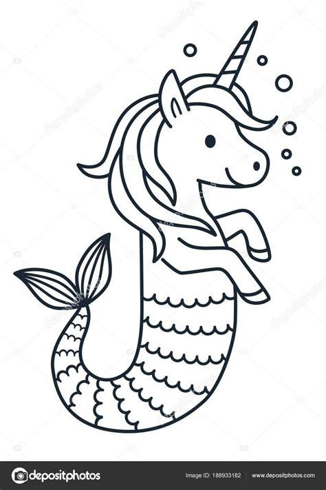 baixar vetor de sereia unicornio fofo colorir ilustracao