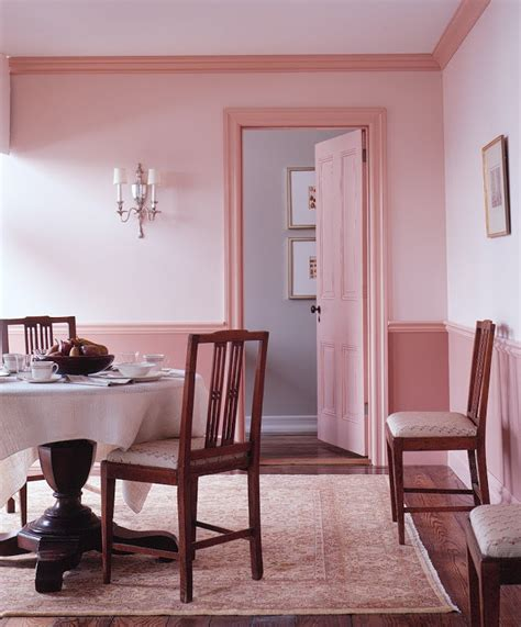pink dining room cheerful dining room decoration with pink wall molding chair rail including white table
