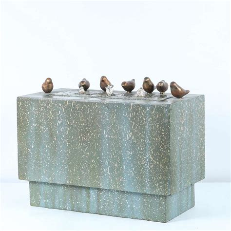 rectangular birds lighted outdoor fountain water fountain