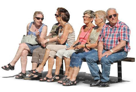 people sitting on bench six eldery people sitting in a row on a bench cut out