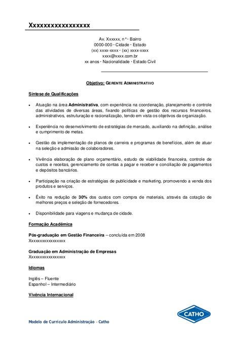 Modelo De Curriculum Vitae Gerente Administrativo Modelo Curriculo Administra 231 227 O
