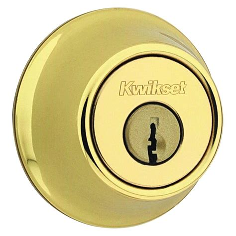 Front Door Bolt Locks Kwikset 665 Series Polished Brass Cylinder Deadbolt 665 3 Rcal Rcs The Home Depot