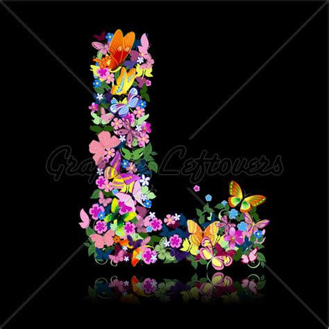 L Flower by Letter L Of Flowers And A Butterfly 183 Gl Stock Images