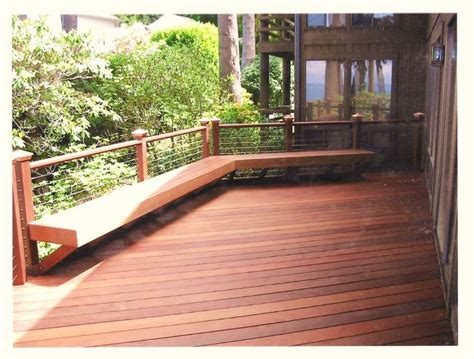 decks with benches cable railing with benches ipe deck with built in bench