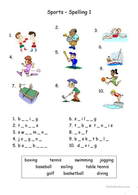 sports spelling worksheet free esl printable