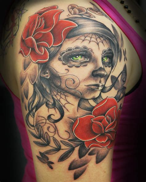 girl sugar skull tattoo 40 day of the dead designs for inspiration