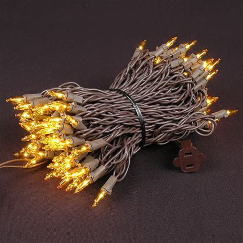 yellow christmas mini lights set 100 light brown wire 50