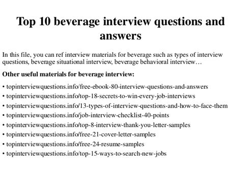 top 10 beverage questions and answers