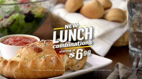 olive garden 7 dollar lunch olive garden lunch combinations tv spot pizzaiola calzone ispot tv