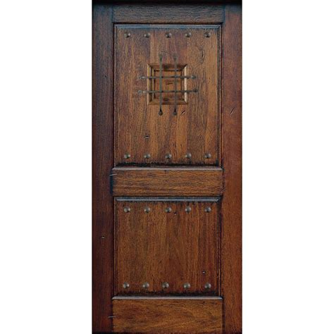 Solid Wood Exterior Door Slab Door Rustic Mahogany Type Prefinished Distressed Solid Wood Speakeasy Entry Door Slab Sh