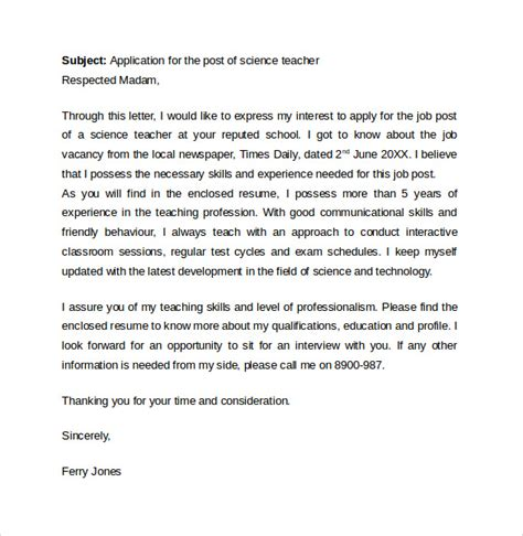 Teaching Cover Letter Secondary Cover Letter Template 7 Free Sles Exles Format