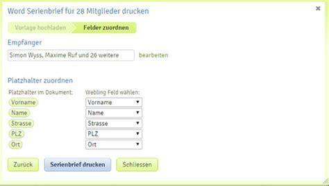 Word Vorlage Platzhalter Word Serienbrief Drucken Webling Support