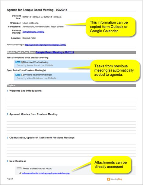 board minutes template sle board meeting agenda template