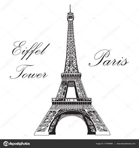 imagenes blanco y negro torre ifel mano de vector ilustraci 243 n torre eiffel de dibujo vector