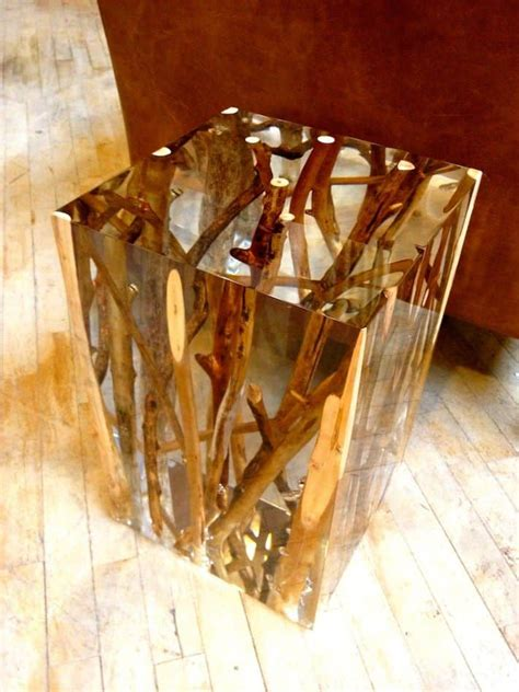 driftwood branches  acrylic side table  michael dawkins