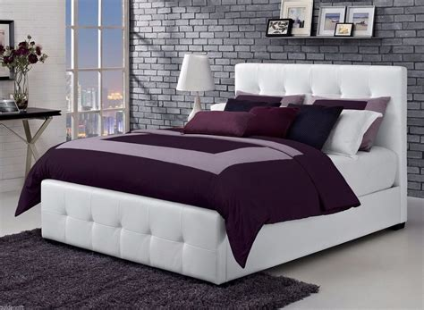 modern queen size leather platform bed frame tufted