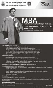 Commonwealth Executive Mba In Bangladesh Open by Mba Open Of Srilanka In Collaboration With