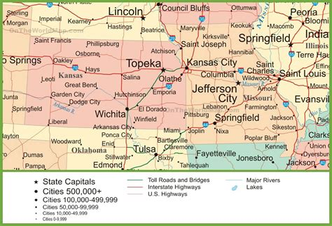 kansas city missouri map usa map of kansas and missouri