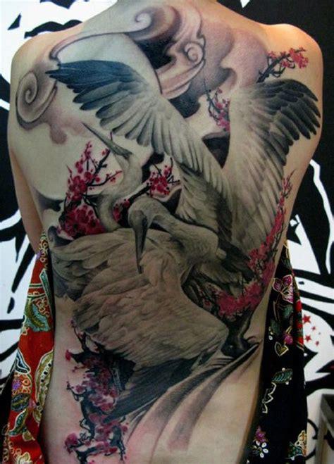 tattoo back japanese 61 incredible crane tattoos