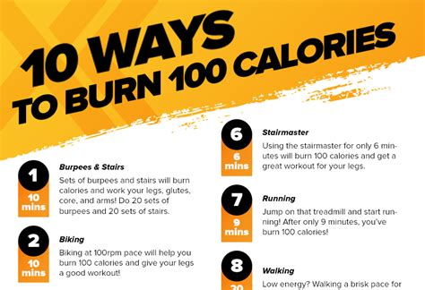 10 Ways To Burn More Calories During The Day by 10 Ways To Burn 100 Calories Xperience Fitness