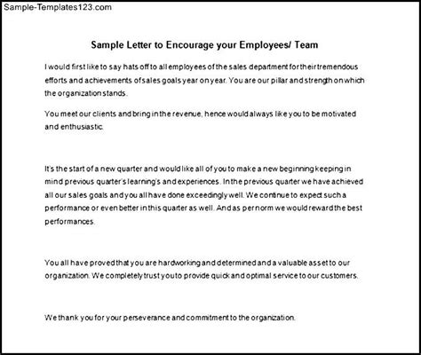 Employment Motivation Letter Exle Sle Employee Motivation Letter Template In Word Sle Templates