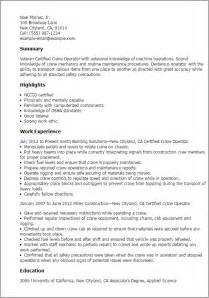 Crane Operator Cover Letter by Professional Certified Crane Operator Templates To