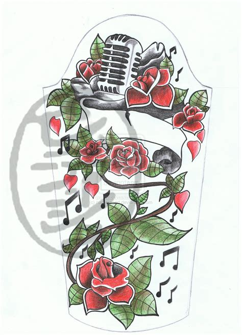 rose and mic half sleeve tattoo flash design by namerased
